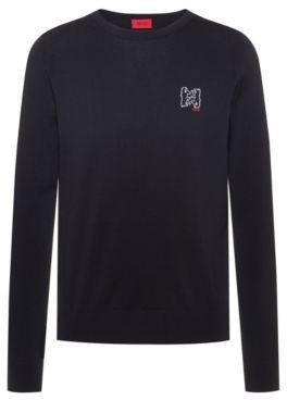 HUGO BOSS - Cotton Blend Knitted Sweater With Bear Motifs - Dark Blue