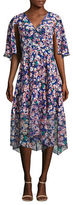 Tracy Reese V-Neck Floral Silk Dress
