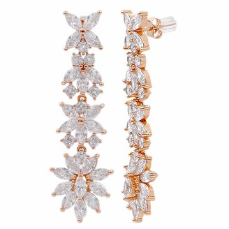 Lavencious Flower Bling Cubic Zirconia Chandelier Dangle Earrings Bride Silver Gold Rose Gold Plated Base (Rose Gold)