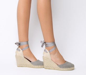 Gaimo for OFFICE Ankle Wrap Espadrille Wedges Grey