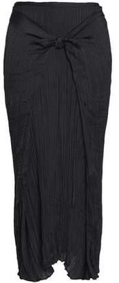 Vince Knotted Plisse-crepe Midi Skirt