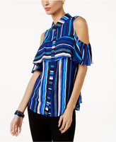 NY Collection Striped Ruffled Cold-Shoulder Top
