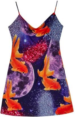 Camille Defago Glitter Goldfish Short Slip Dress