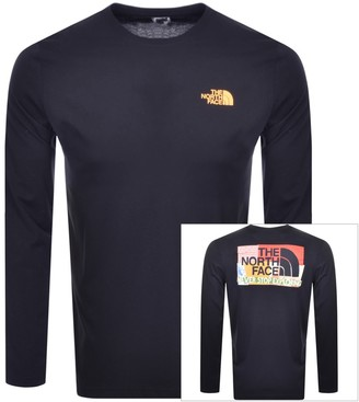 The North Face Long Sleeved Logo T Shirt Navy