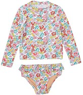 J.Crew Crewcuts By crewcuts by Long Sleeve Rashguard with Ruffle Bottom in Floral Print (Toddler/Little Kids/Big Kids) (Aqua/Pink) Girl's Pajama Sets