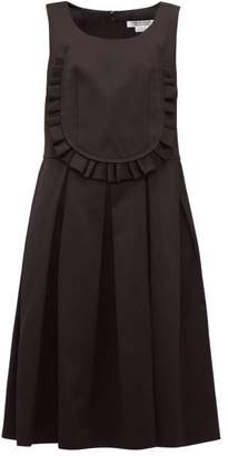 Comme des Garcons Ruffled Bib Twill Dress - Womens - Black