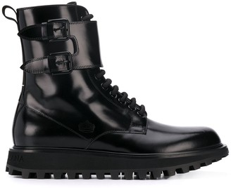 Dolce & Gabbana Buckled High-Top Boots