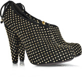 Studded suede leather bootie