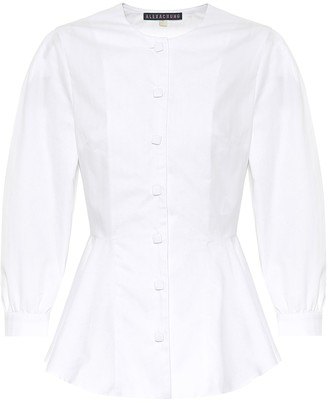 ALEXACHUNG Alice cotton-blend herringbone shirt