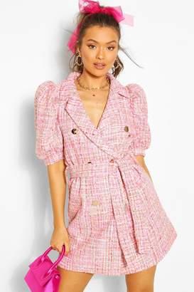 boohoo Boucle Tailored Puff Sleeve Blazer Dress