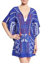 Trina Turk Jakarta Embroidered Caftan Coverup, Blue