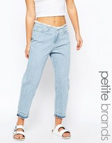 Waven Petite Helene Boyfriend Jean With Raw Edge Detail