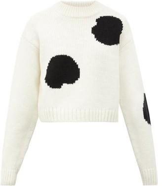 Tibi Cropped Polka Dot-intarsia Wool-blend Sweater - Womens - Black White