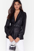 Nasty Gal Womens Faux Leather Miss a Beat Longline Belted Jacket - black - S