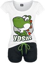 Nintendo Official Womens Super Mario Bros Yoshi Shortama Pyjama Set Ladies