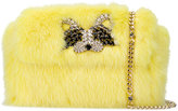 Ermanno Scervino rhinestone embellished fur clutch