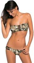 Futurino Women's Camouflage Pattern Bandeau Top Low Rise Bottom Bikini Swimsuit