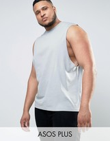 Asos PLUS Sleeveless T-Shirt With Dropped Armhole In Gray