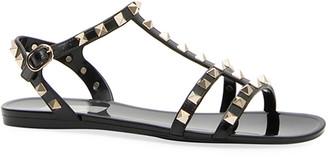 Valentino Rockstud Jelly Flat Gladiator Sandals