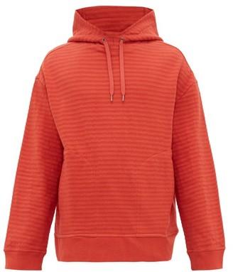 Raey Seersucker Cotton-blend Hooded Sweatshirt - Mens - Orange