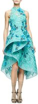 Monique Lhuillier Floral-Embellished Guipure-Lace Dress, Mint