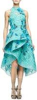 Monique Lhuillier Floral-Embellished Guipure-Lace Dress, Mint