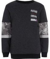 River Island Boys grey block print sweatshirt
