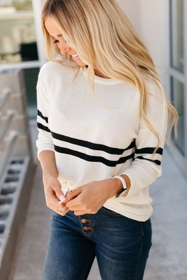 Ampersand Avenue Stripe Knit Varsity Sweater