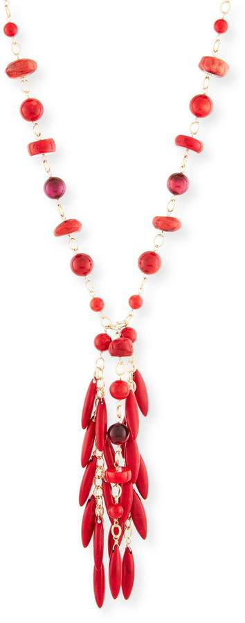 Devon Leigh Beaded Coral Spike Fringe Necklace