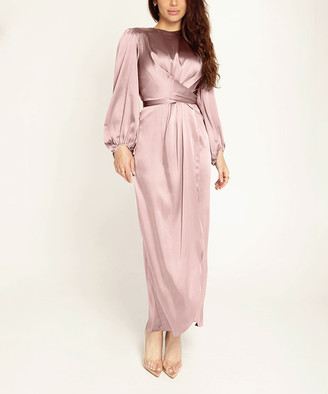 Vicky and Lucas Women's Special Occasion Dresses Pink - Pink Crossover Bishop-Sleeve Midi Dress - Women