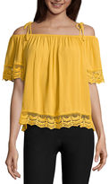 BY AND BY by&by Short Sleeve Round Neck Woven Blouse-Juniors