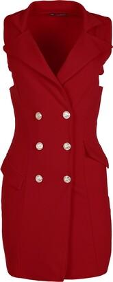 Be Jealous Womens Tuxedo Wrap Dress Duster Coat Ladies Golden Button Collar Plain Cardigan (Plus Size UK 18