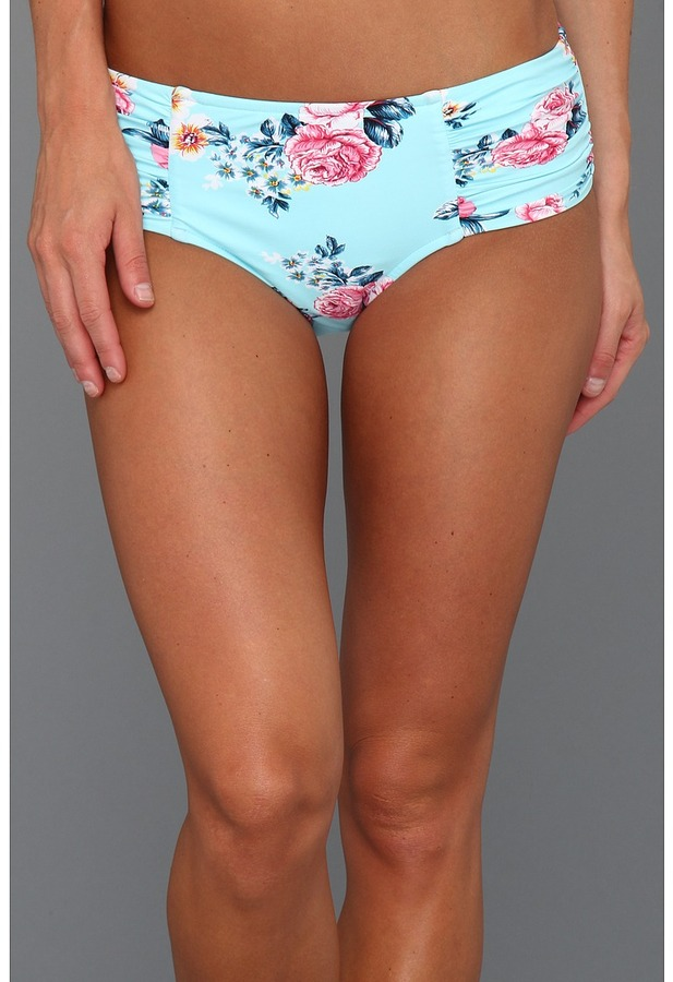 Seafolly Rococo Rose Ruched Side Retro Bikini Bottom (Vintage Blue) - Apparel