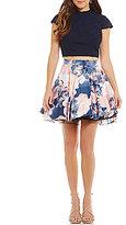 Jodi Kristopher Mock Neck Lace Top Floral-Print Skirt Two-Piece Dress