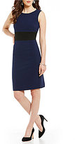 Kasper Colorblock Sleeveless Sheath Dress