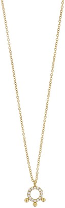 Bony Levy 18K Yellow Gold Open Circle Diamond Bead Pendant Necklace - 0.09 ctw