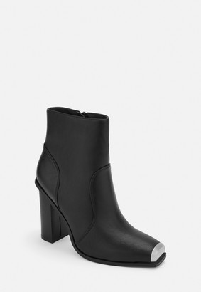 Missguided Black Metal Toe Cap Western Style Boots