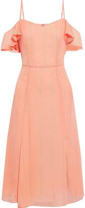 Halston Cold-shoulder Metallic Georgette Dress