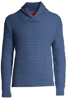Isaia Basket-Weave Shawl Collar Cashmere Sweater