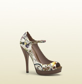 Gucci Flora Canvas Mary Jane Open Toe Pump