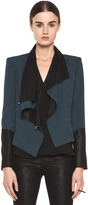Helmut Lang Perma Jacquard Sleeve Combo Jacket in Dusty Sapphire