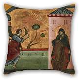 PaPaver Throw Pillow Covers(double Sides) Nice Choice For Dance Room Outdoor Him Pub Teens Girls Kitchen Oil Painting Guido Da Siena - Annunciation