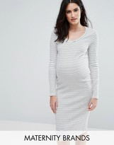 Mama Licious Mama.licious Mamalicious Long Sleeve Stripe Jersey Bodycon Dress