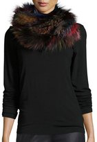 Jocelyn Fox Fur Infinity Scarf, Dark Multicolor