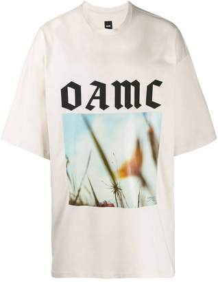 Oamc over-sized logo graphic print t-shirt neutral