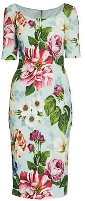 Dolce & Gabbana Cady Floral-Print Sheath Dress