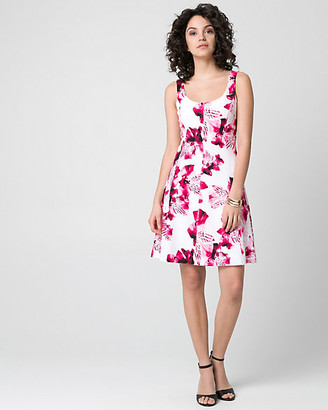 Le Château Floral Print Knit Crepe Scoop Neck Dress