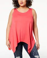 Celebrity Pink Trendy Plus Size Handkerchief-Hem Tank Top