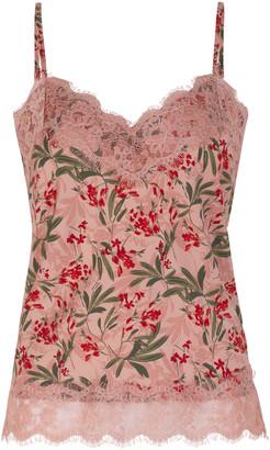 Rosemunde Lissabon Strap Top With Lace - Rose Print - DK 36 (UK 10)