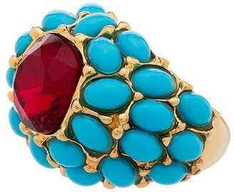 Kenneth Jay Lane Turquoise cabochon dome cocktail ring